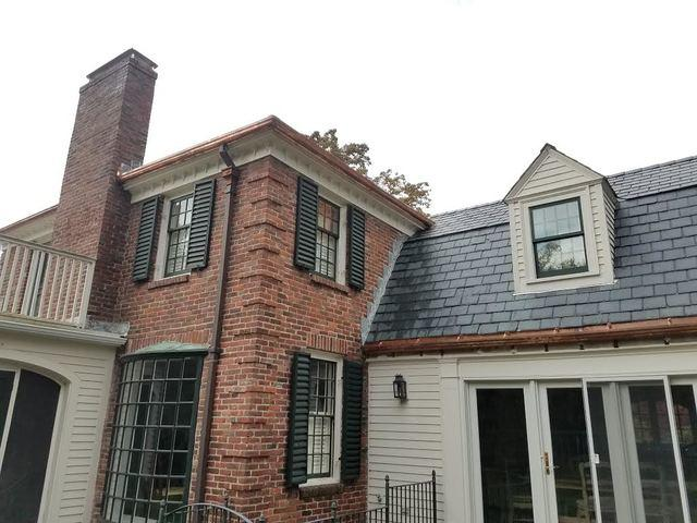 Custom Built Copper Gutter Installation on Two Front Elevations in West Newton, MA - After Photo