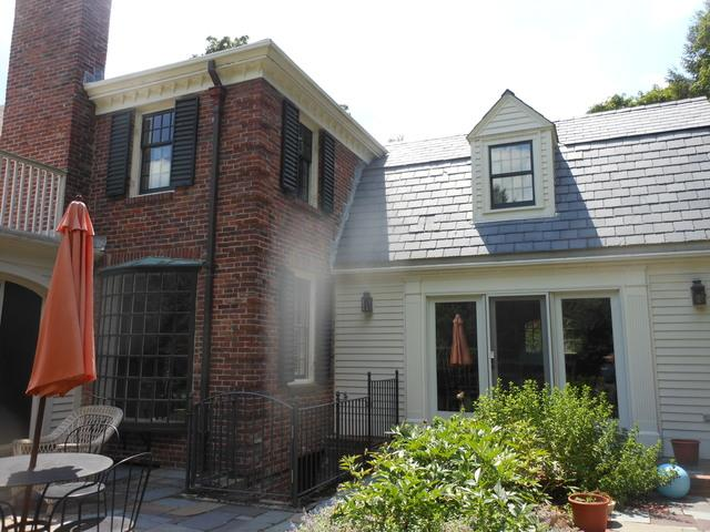 Custom Built Copper Gutter Installation on Two Front Elevations in West Newton, MA