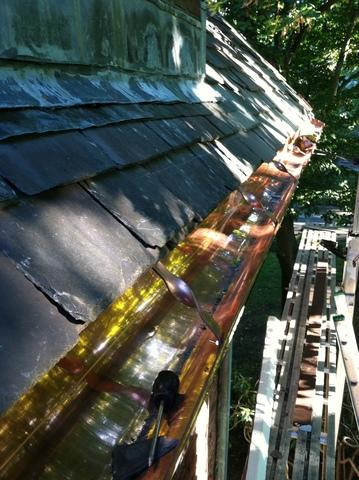 Slate Repair & Copper Gutter Installation in Arlington, MA
