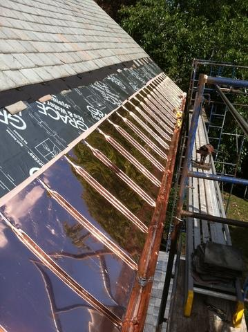 Copper Panel Installation and Slate Roof Replacement in Winchester, MA
