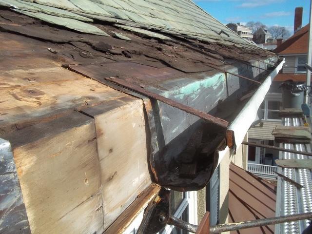 Copper Gutters & Slate Roof Repair in Boston, MA
