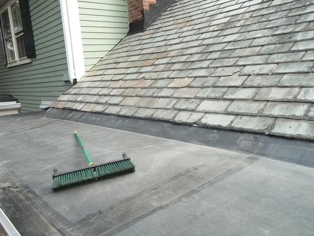 Slate Repair & Rubber Roof in Newton, MA