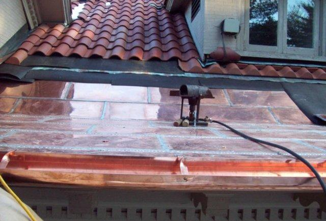 Custom Copper Panels with a Spanish TIle Roof in Brookline, MA