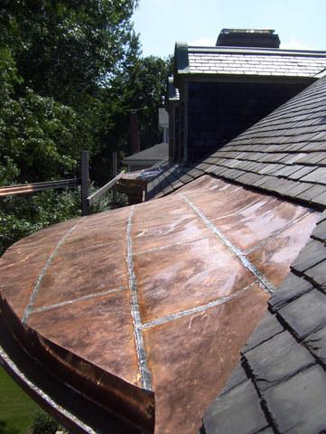 Flat Seam Copper Roof Replacement in Newton, MA