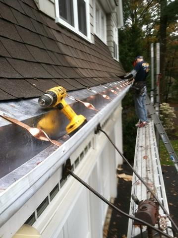 Lead Coated Copper Gutter Installation in Framingham, MA
