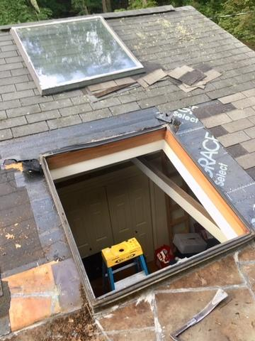 Skylight repair in Chestnut Hill MA - Before Photo