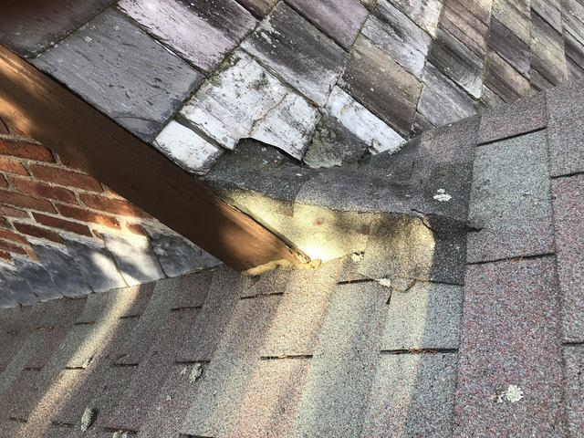 Copper Wash and Step Flashing Installation in Belmont, MA - Before Photo