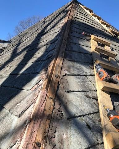 Hip Cap Replacement on Slate Roof in Chestnut Hill, MA