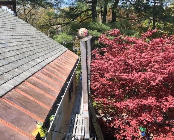 Copper Panel Installation on Slate Roof in Waban (Newton), MA