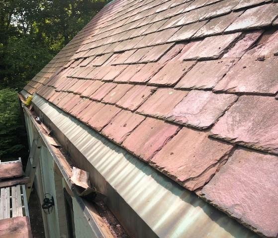 Copper Gutter Liner on Slate Roof in Waban, MA