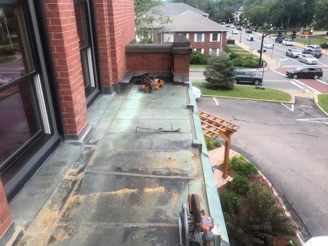 Copper Paneling on Town Hall in Canton, MA - Before Photo
