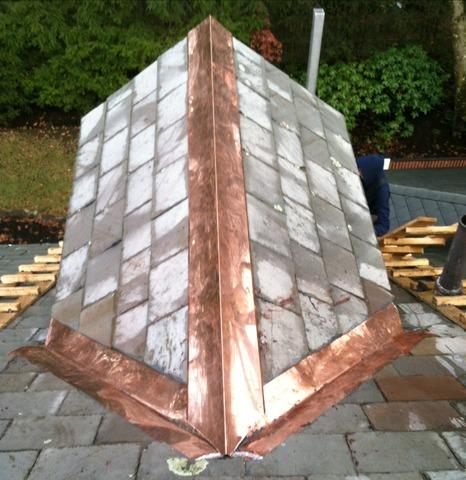 Slate Dormer Roof with Copper Valleys in Newton, MA