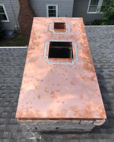 Copper Chimney Crown in Millis, MA - After Photo