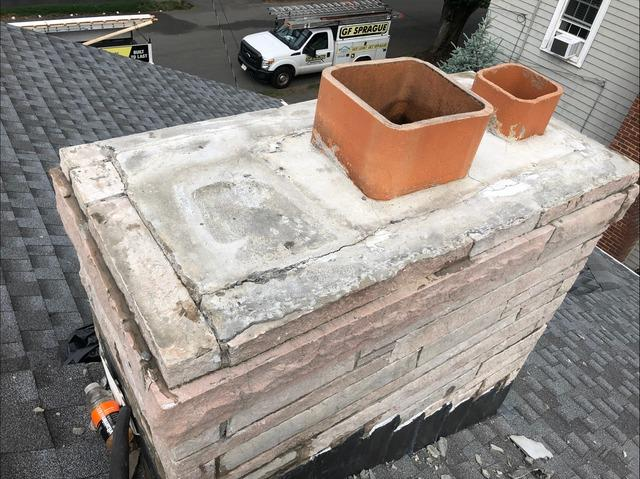 Copper Chimney Crown in Millis, MA - Before Photo