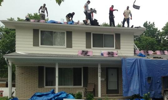 Re-Roofing a house in Warren, trying to stay dry!