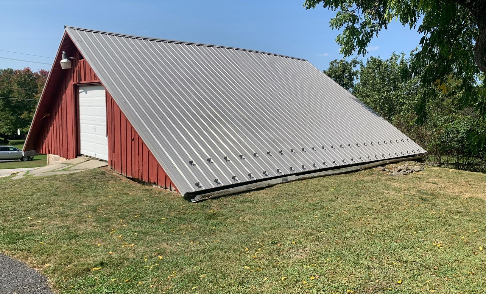 Corrugated Metal Roofing Panels Installed on this barn in Dillsburg, Pa - After Photo