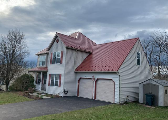 Corrugated Metal Roofing Panels Installed on this Home in Lebanon, Pa
