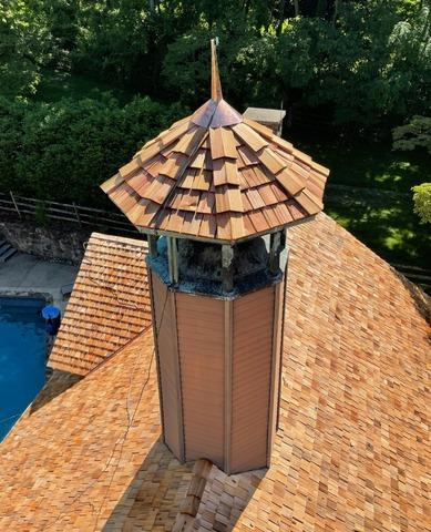 Cedar Shake Shingles Installed on this Turret in Newtown Square