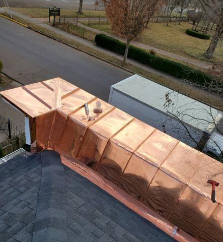 Parapet Wall Beautified in Copper in Madison, IN - After Photo