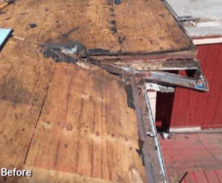 Flat Roof Repair - Before Photo