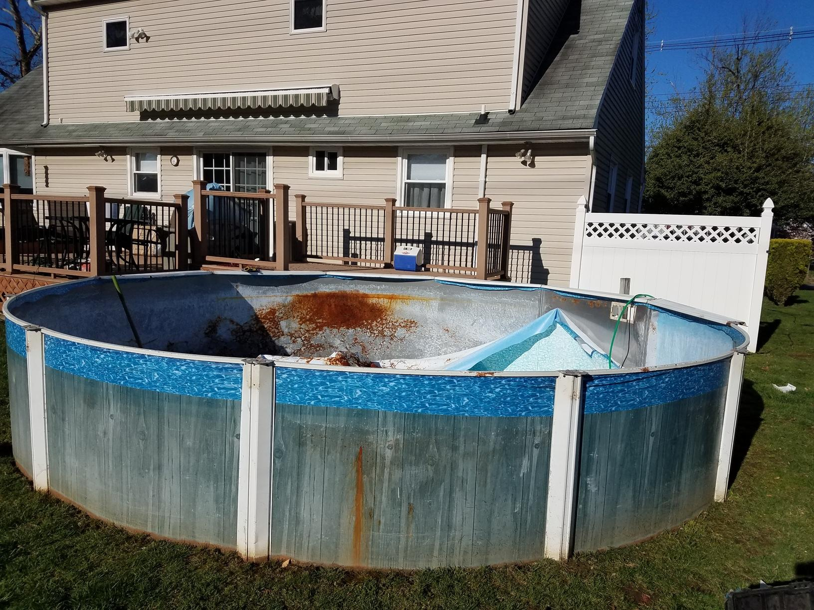 Above Ground Pool Replacement in Belford, NJ - Before Photo
