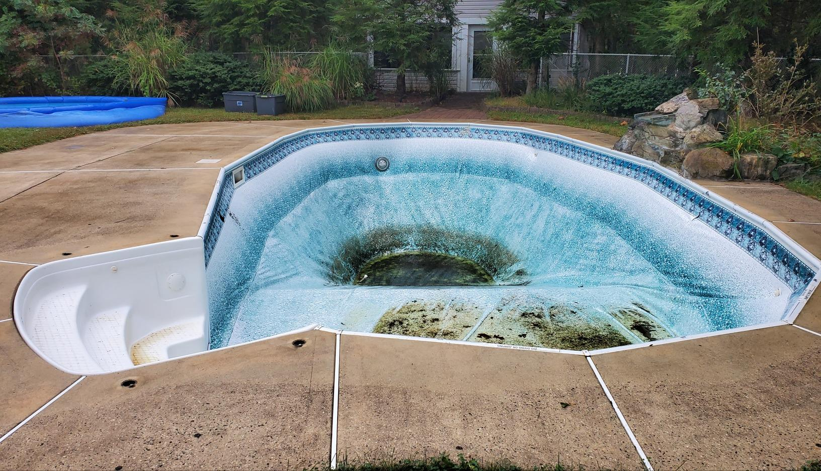 Inground Pool Liner Replacement in West Creek, NJ - Before Photo