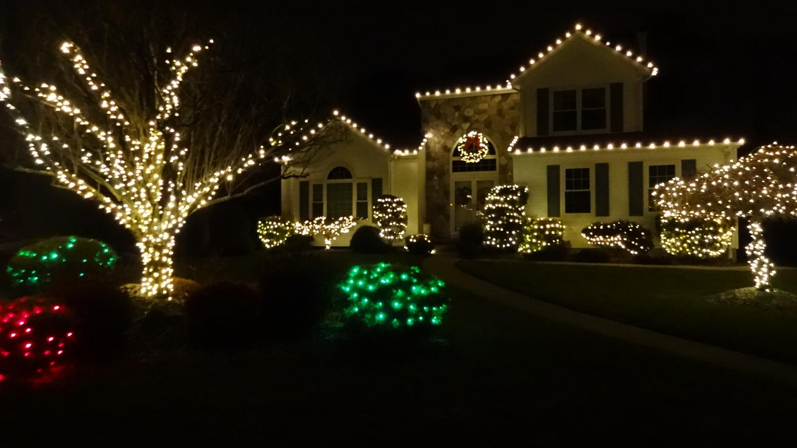 Christmas Lights on home in Brick, NJ - After Photo