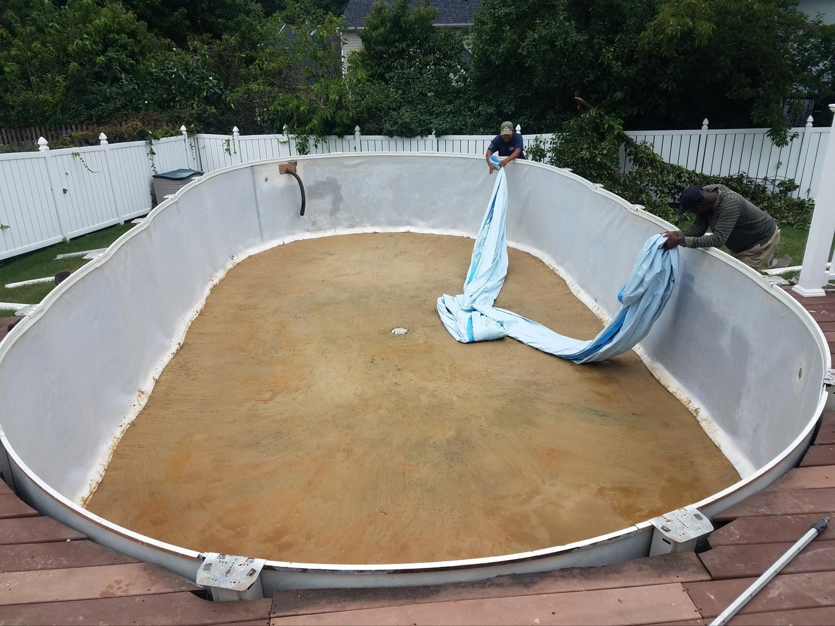 Liner Change on Pool with Deck in Howell, NJ - Before Photo