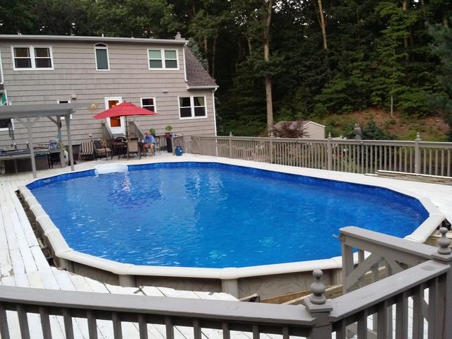 Above Ground Pool Installation with Deck in Wall Township - After Photo