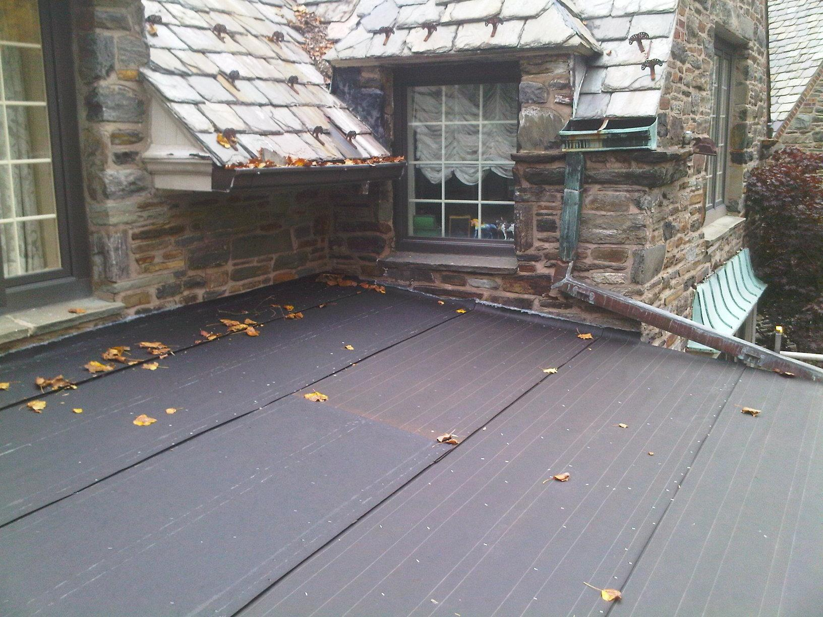 Low Sloping Metal Roof in Gladwyne, PA - Before Photo