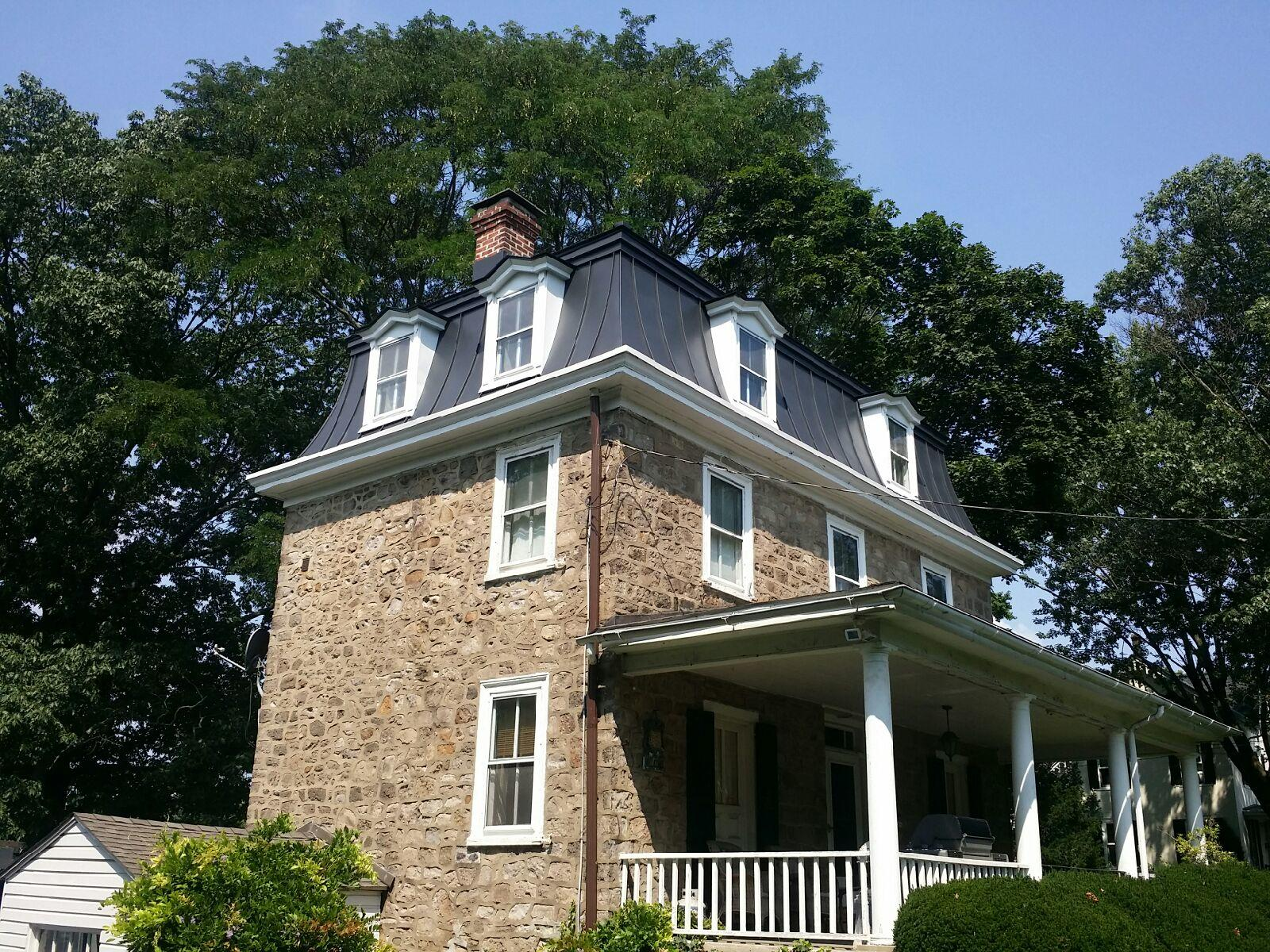 Dove and Charcoal Grey GTech Standing Seam Metal Roof Installation in Glenside, PA - After Photo