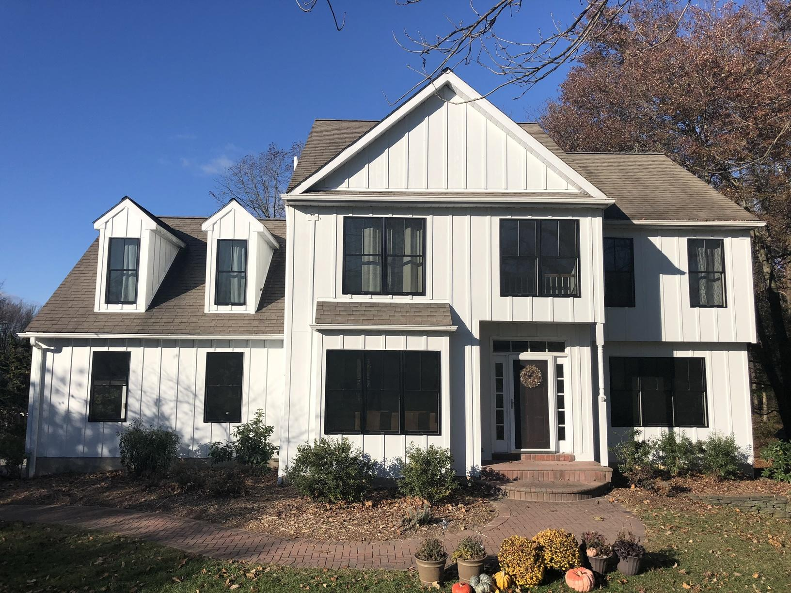 Arctic White James Hardie Batten Board Fiber Cement Siding Installation in Oxford, PA - After Photo