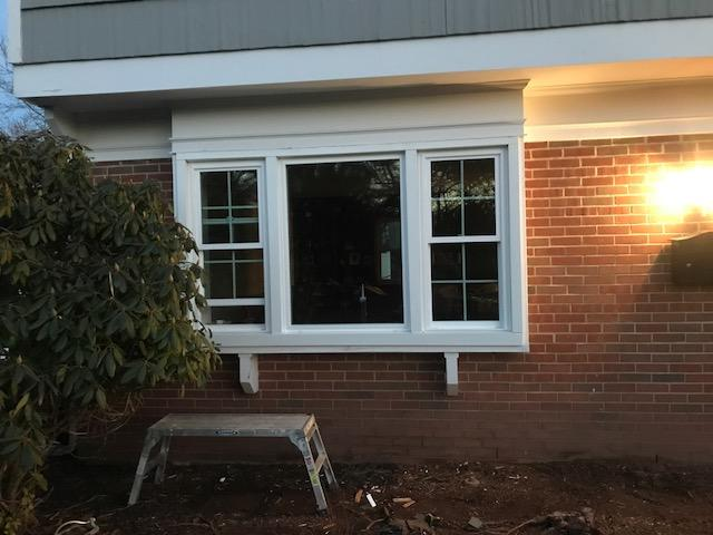 Custom Made-to-Fit GlobalTech Vinyl Double Hung and Picture Windows with Colonial Grids and GTech 12 Glass Installed in Somerset, NJ - After Photo