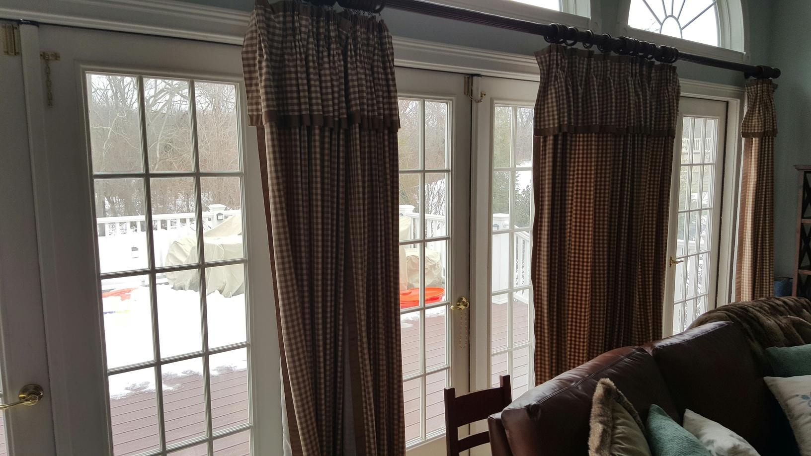 Custom French Outswing Patio Doors with Colonial Grids, Aged Bronze Hardware, Snow White Interior, Coal Black Exterior Installed in Swedesboro, NJ - Before Photo