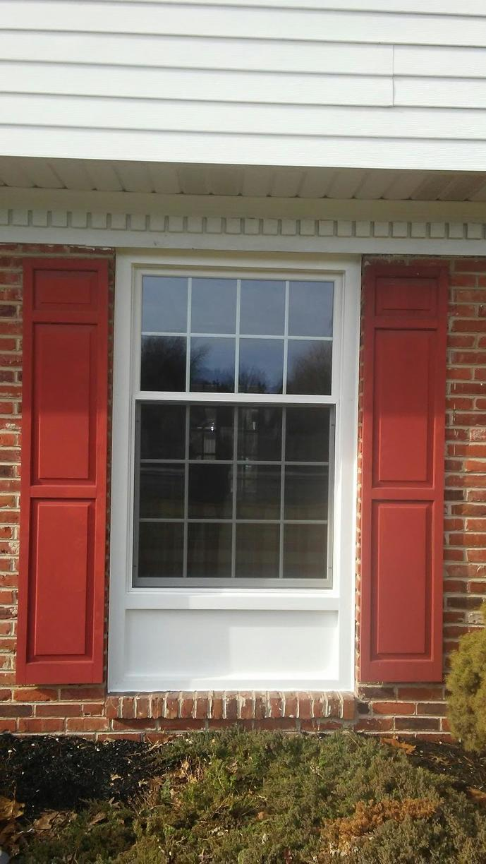 Marvin Infinity 40:60 Ratio Double Hung Windows with White Interior and Exterior Installed in Maple Glen, PA - After Photo