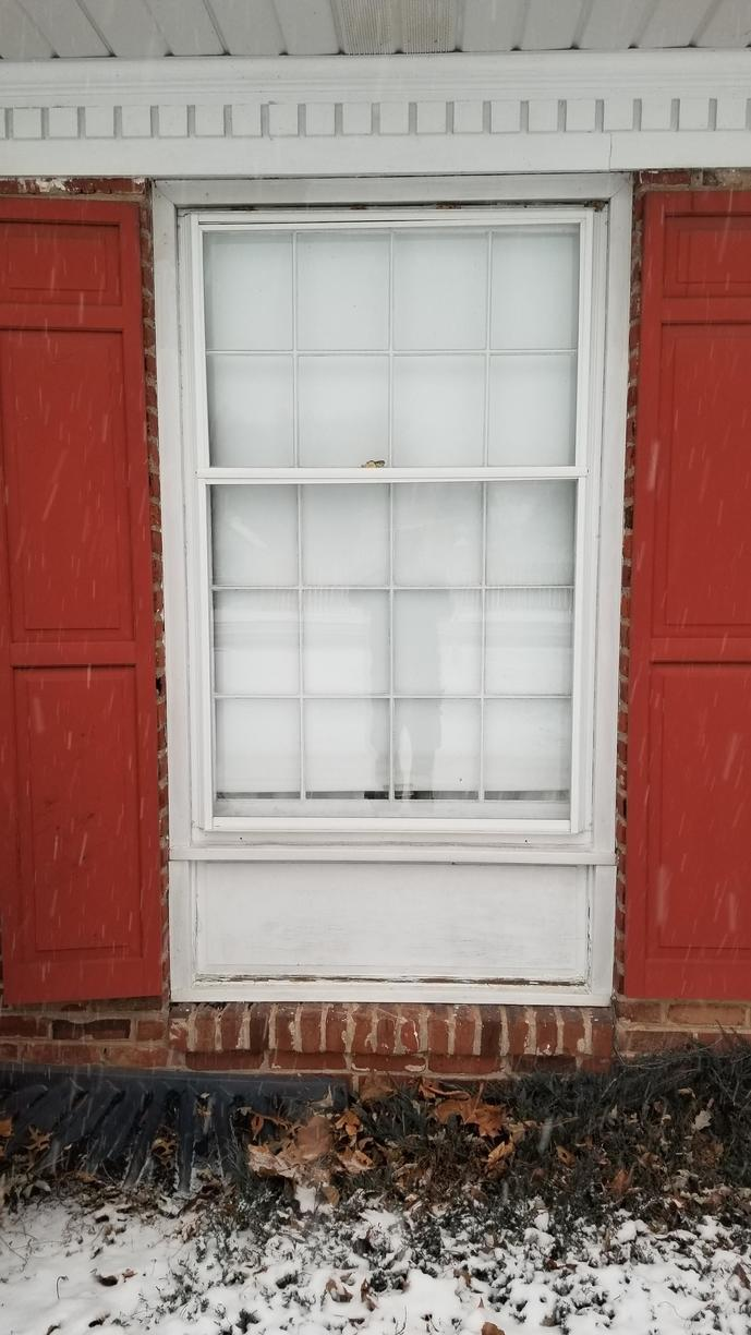 Marvin Infinity 40:60 Ratio Double Hung Windows with White Interior and Exterior Installed in Maple Glen, PA - Before Photo