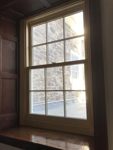 Marvin Ultimate Double Hung Window with Bare Pine Interior and White Exterior and Magnum Screen Installation in Doylestown, PA