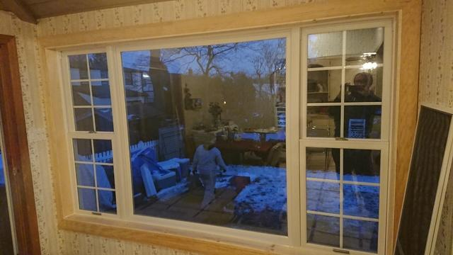 Marvin Infinity Assembly of Double Hung and Picture Window with Grilles Installation in Maywood, NJ