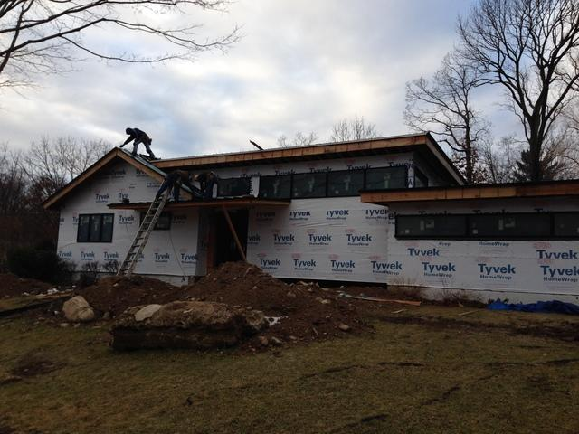 Grey Drexel Standing Seam Metal Roof Installation on New Construction in North Haledon, NJ