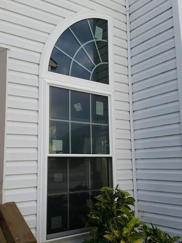 Global Tech Vinyl Double Hung and Quarter Moon Window with Tempered Glass Installation in Marlton, NJ
