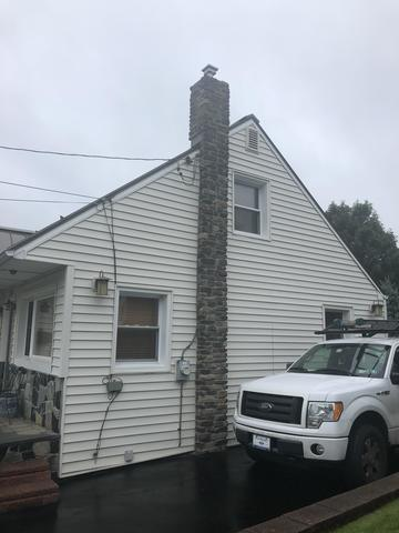 Installing ProVia Stone on Chimney in Sharon Hill, PA
