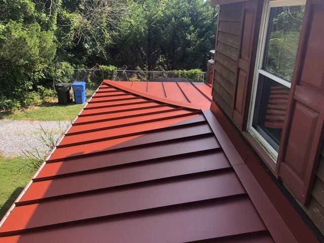 Burgundy Standing Seam Metal Roof installation in Petersburg, NJ