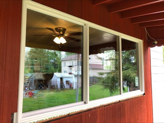 Replacing Older Wood Windows with GlobalTech Vinyl Triple Picture Windows in Bristol, PA