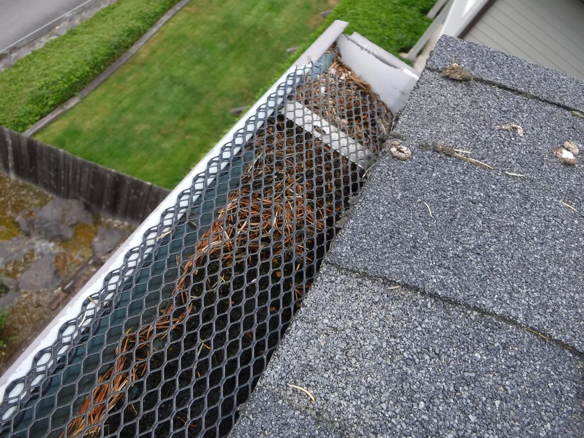 Faulty Gutter Guard System Replaced on this Kenmore, WA home. - Before Photo