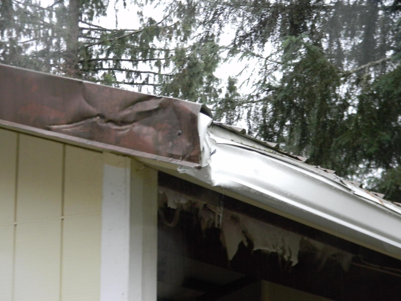 Damaged Gutter System Repaired in Ferndale, WA - Before Photo