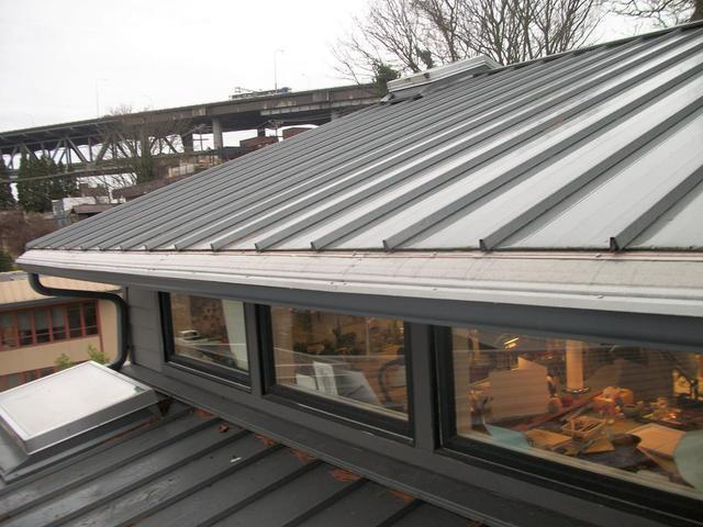 Metal Roof Has Gutter Guards Installed in Lake Union