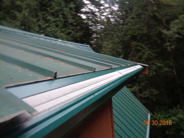 Metal roof with gutters full of needles and debris replaced in Bellingham, WA