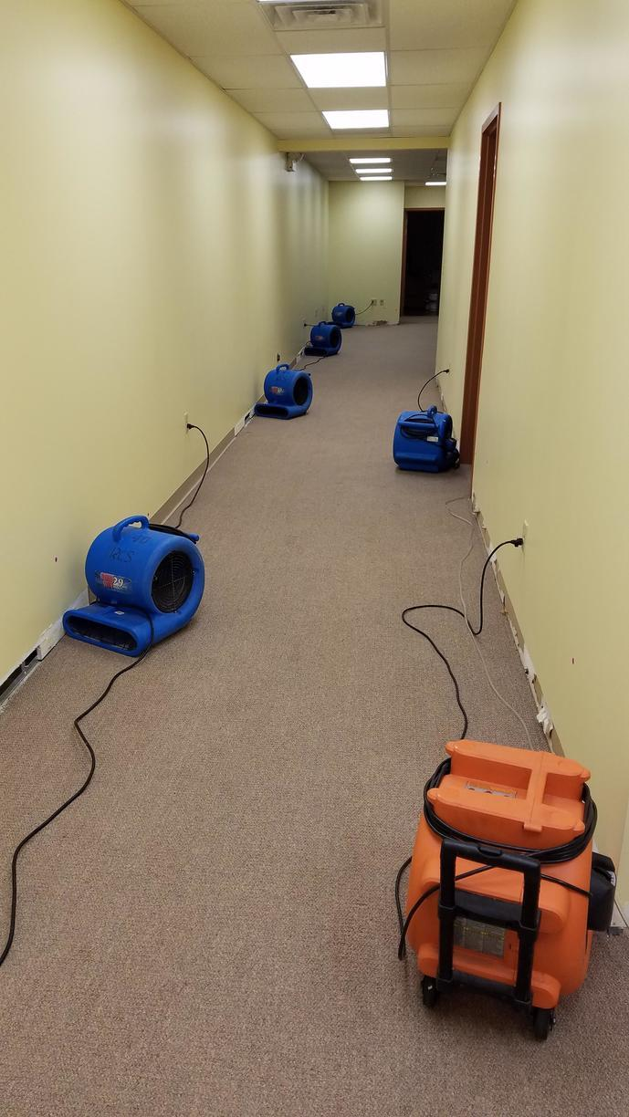 Water Damage in Pittsburgh, PA Commercial Building Hallway - Before Photo
