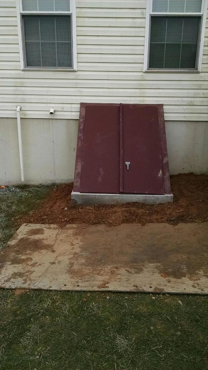 Smaller precast cellar door installation in Oxford, PA - After Photo