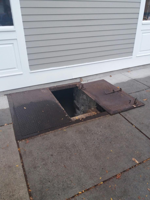 Diamond Plate Commercial Sidewalk Door Installed in Bordentown, NJ. - Before Photo